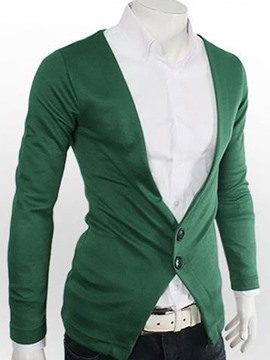 Ericdress Solid Color Cardigan All Matched Men's Sweater