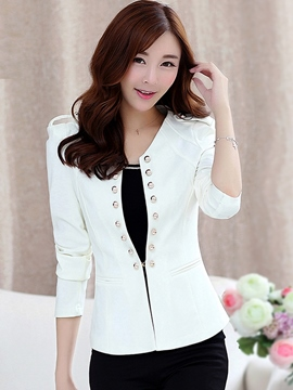 Ericdress Elegant Double-Breasted Round Neck Blazer