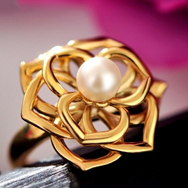 Ericdress Golden Flower Whisper Ring