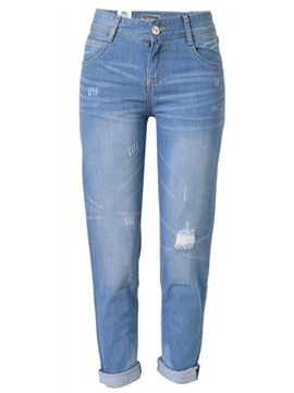 Ericdress Simple Solid Color Ripped Jeans