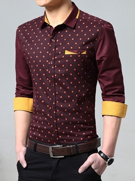Ericdress Printed Color Block Long Sleeve Men's Shirt