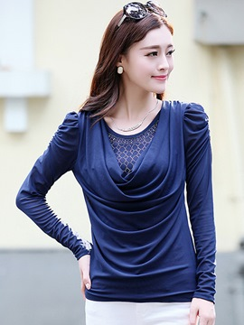 Ericdress Pleated Slim Heap Blouse