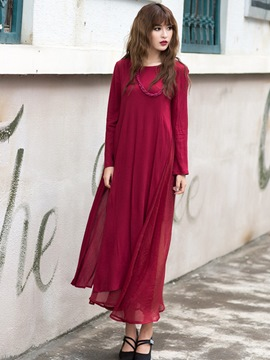 Ericdress Plain Double-Layer Maxi Dress