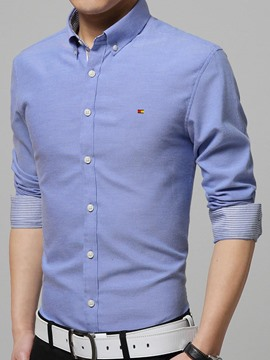 Ericdress Plain with Small Logo Long Sleeve Slim Men's Shirt