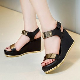 Ericdress Metal Decoration Wedge Sandals