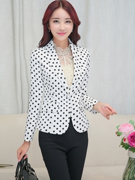 Ericdress Polka Dots One Button Blazer