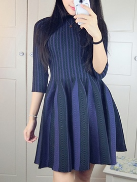 Ericdress knit Stripe Half Sleeve Casual Dress
