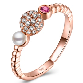 Ericdress Simple Pearl Crystal Open Ring