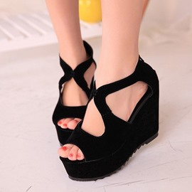 Ericdress Unique Suede Peep Toe Wedge Sandals