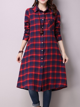 Ericdress Plaid Single-Breasted A-Line Lapel Casual Dress
