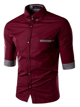 Ericdress Patched Three-Quarter Sleeves Slim Men's Shirt
