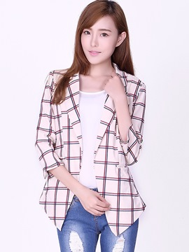 Ericdress Simple Plaid Blazer