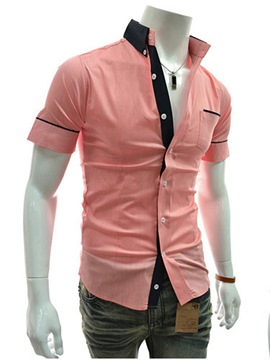 Ericdress Patched Short Sleeve Slim Men's Shirt