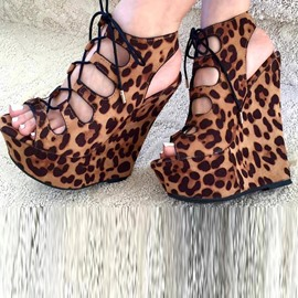 Ericdress Leopard Lace up Peep Toe Wedge Sandals