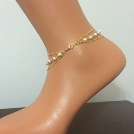 Ericdress Simple Three-Layer Pearl Anklet