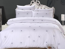 Ericdress White Dandelion Cotton Bedding Sets