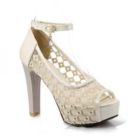 Ericdress Mesh Hollow Out Peep Toe Chunky Sandals