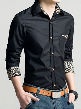 Ericdress Leopard Printed Long Sleeve Men's Shirt