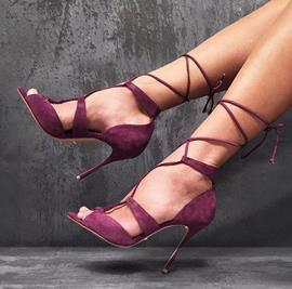 Ericdress Burgundy Cross Strap Stiletto Sandals