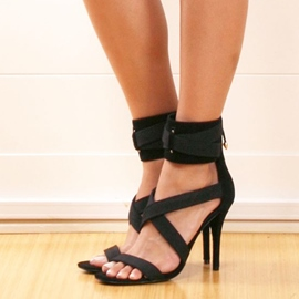 Ericdress Black Cross Strappy Stiletto Sandals