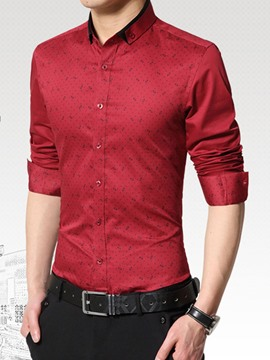 Ericdress Casual Printed Long Sleeve Slim Men's Shirt