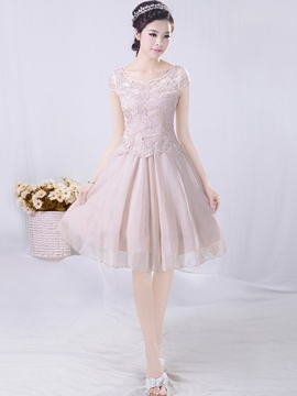 Ericdress Lace Chiffon Patchwork Expansion Casual Dress