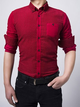 Ericdress Corduroy Polka Dots Long Sleeve Men's Shirt