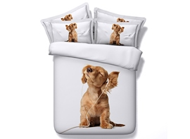 Ericdress Lovely Dog Enjoying Music Print 3D Bedding Sets