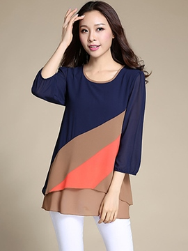 Ericdress Color Block Loose Chiffon Blouse
