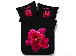 Ericdress Red Flower In Darkness Print 3D Bedding Sets
