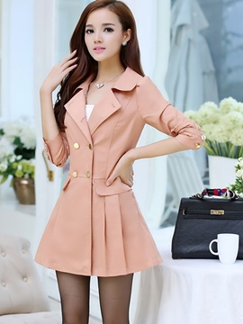 Ericdress Double-Breasted Pleated Trench Coat