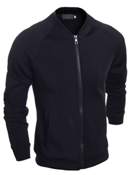 Ericdress Black Patched Stand Collar Men's Jacket