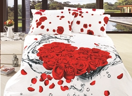 Ericdress Rose Bouquet In Water Print 3D Bedding Sets