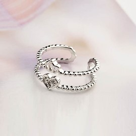 Ericdress Rhinestone Crown Heart Open Ring