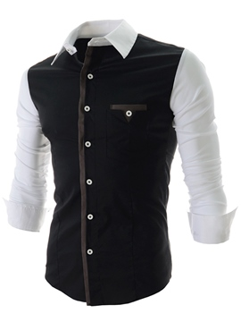 Ericdress Cotton Blends Color Block Iregular Men's Shirt