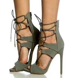 Ericdress Gray Open Toe Stiletto Sandals
