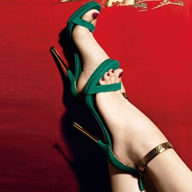 Ericdress Green Ankle Wrap Stiletto Sandals