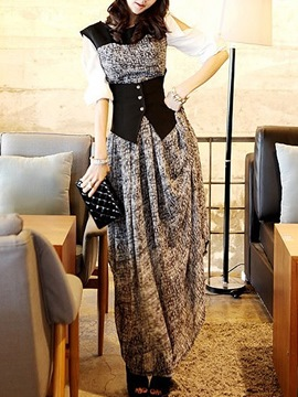 Ericdress Chiffon Patchwork Hollow Sleeveless Maxi Dress