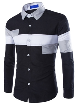 Ericdress Color Block Patched Casual Men's Shirt