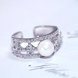 Ericdress Simple Pearl Zircon Sterling Silver Ring