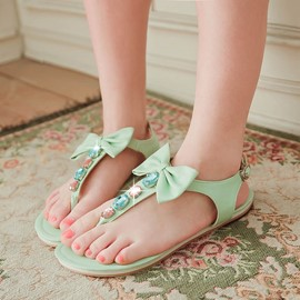 Ericdress Bright Bowknot Clip Toe Flat Sandals