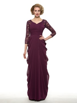 Ericdress Fancy V Neck Droped Lace Mother Of The Bride Dress