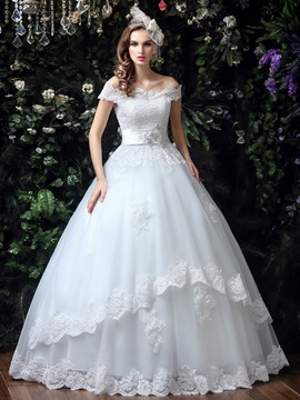 Ericdress Charming Off The Shoulder Lace Ball Gown Wedding Dress