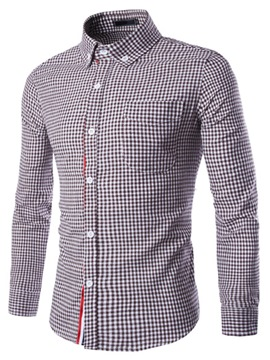 Ericdress Plaid Slim Long Sleeve Men's Shirt