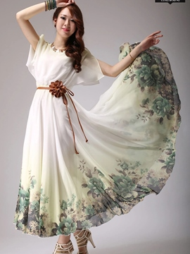 Ericdress Expansion impression Floral manches courtes robe Maxi