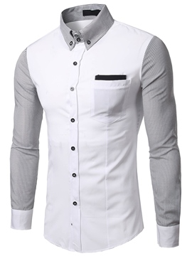 Ericdress Cotton Blends Color Block Casual Men's Shirt
