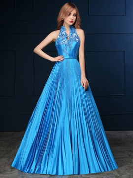 Ericdress Vintage Halter Pleats Applique Floor Length Evening Dress