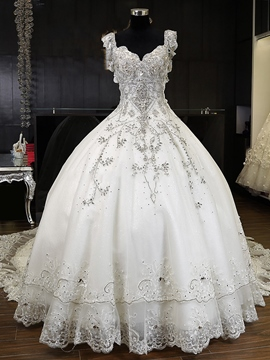 Ericdress Luxury V Neck Beaded Cathedral Train Wedding Dress