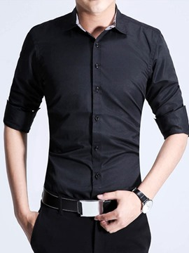 Ericdress Long Sleeve Simple Solid Color Men's Shirt