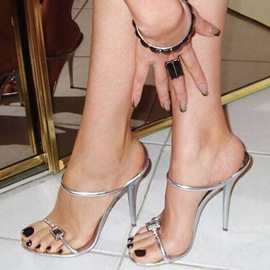 Ericdress Graceful Silver Stiletto Sandals